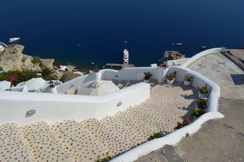Steps to Armeni Bay Oia Santorini royalty free stock photo