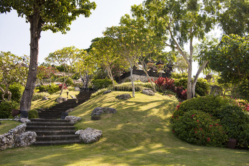 Steps to beautiful garden royalty free stock photography