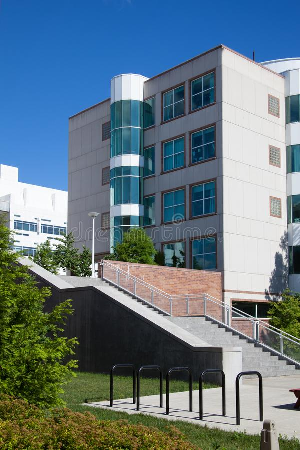 Steps to Cornell University`s BioTech Building. Dramatic architecture defines Cornell University`s BioTech building. Biology and Technology work together here royalty free stock image