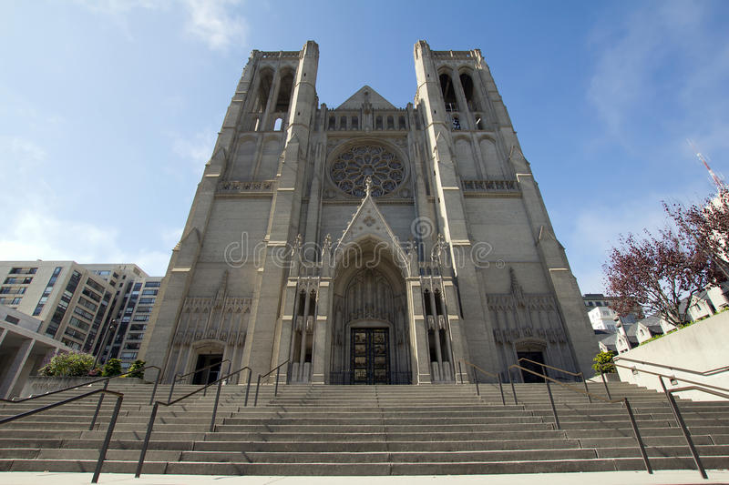 Steps to Grace Cathedral in San Francisco stock images