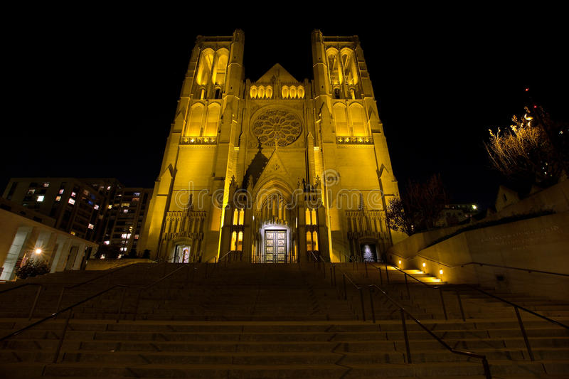 Steps to Grace Cathedral in San Francisco at Night royalty free stock images