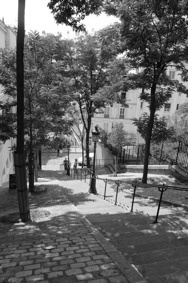 Steps to Montmartre Paris, black and white. Steps to Montmartre Paris, in black and white. Spring time in Paris`s Montmartre neighbourhood royalty free stock photo