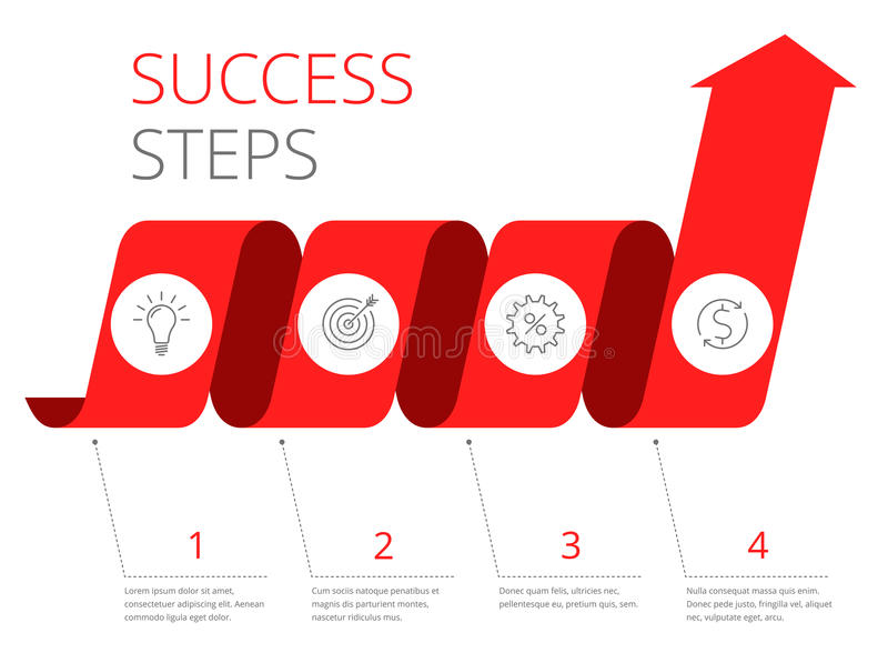 Steps to Success financial concept. Flat vector illustration royalty free illustration