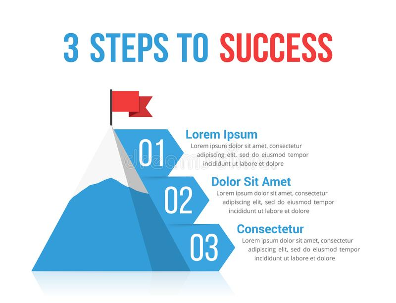 3 Steps to Success. Infographics, leadership or motivation concept stock illustration