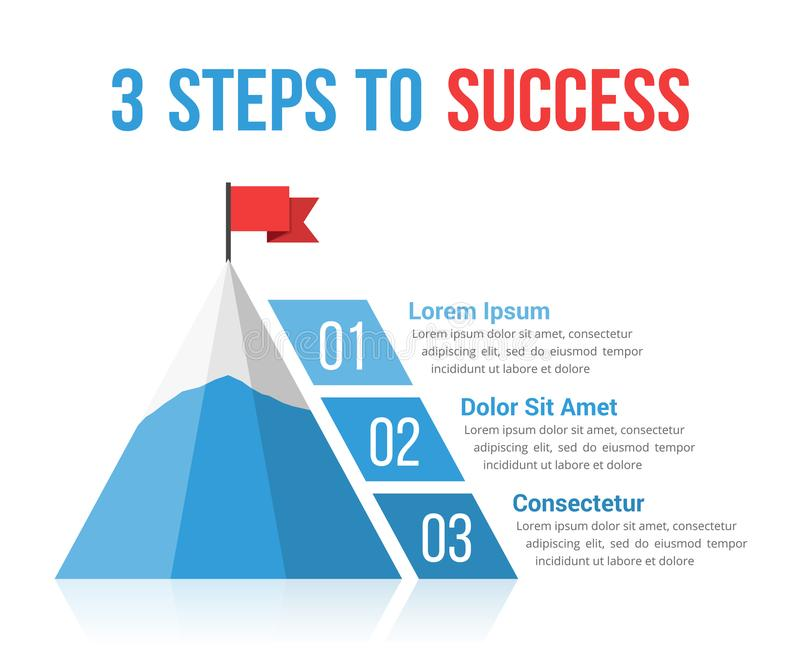 3 Steps to Success. Infographics, leadership, motivation concept stock illustration