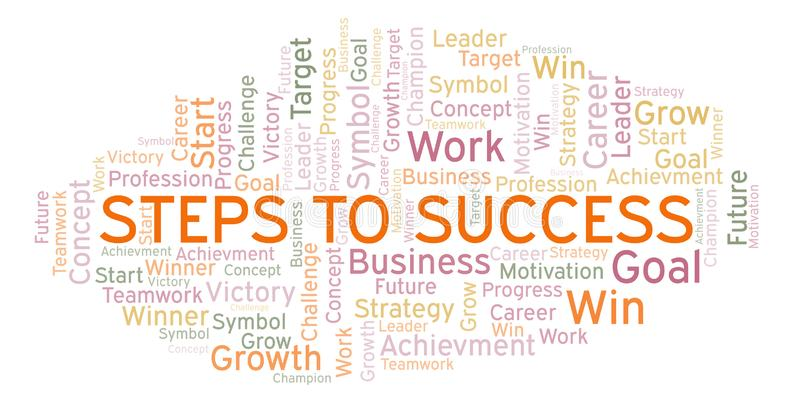 Steps To Success word cloud. vector illustration