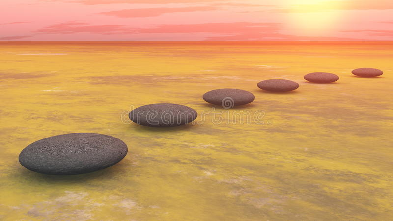 Steps to the sun - 3D render royalty free illustration
