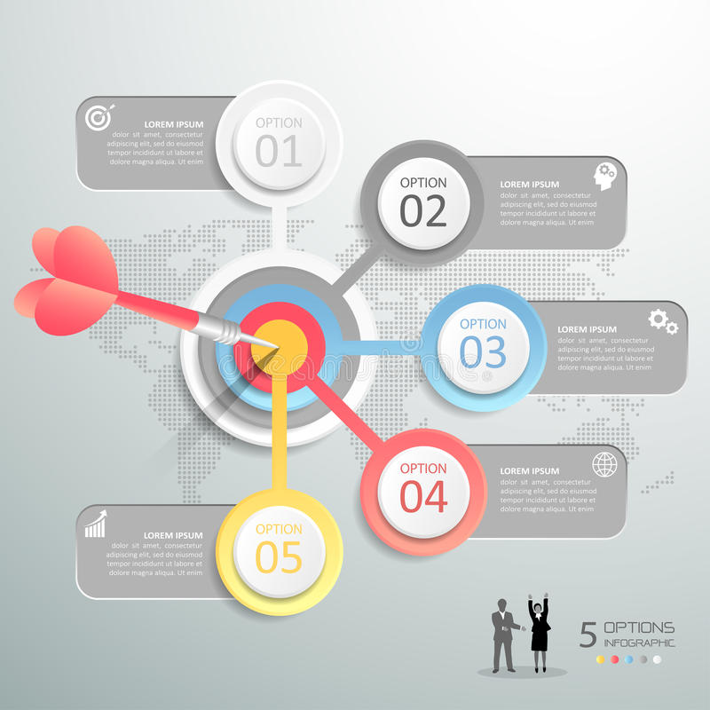 Steps to target infographic 5 options, Business concept infographic. Template can be used for workflow layout, diagram, number options, timeline or milestones stock illustration