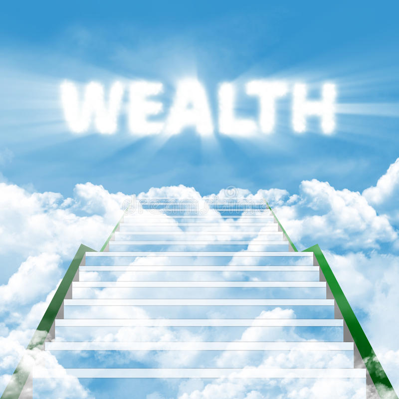The steps to wealth. Illustration of a ladder leading upward to gain wealth royalty free stock image