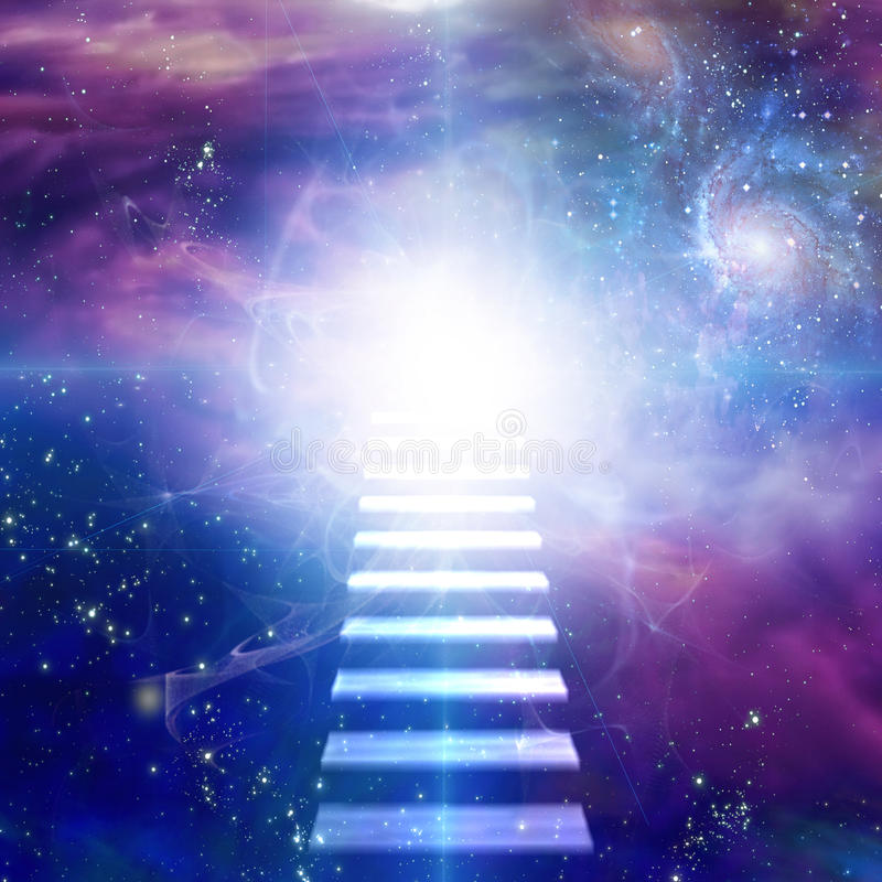 Steps up into cosmos. Steps up into light in cosmos vector illustration