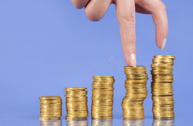 Steps Up Of Golden Coins Royalty Free Stock Photography