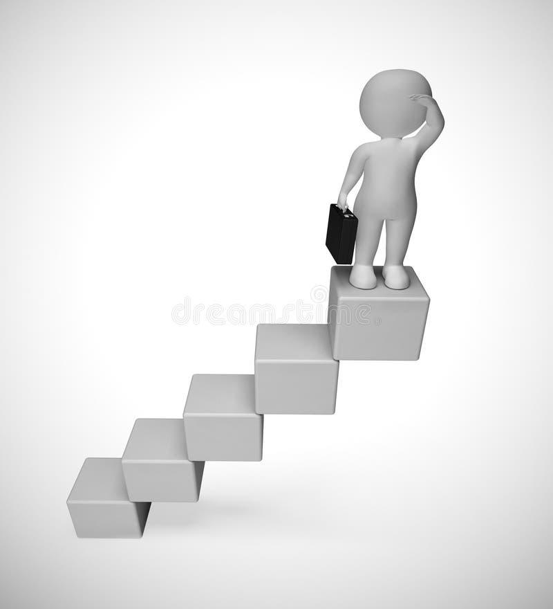 Steps up a graph to a higher level or reward - 3d illustration stock illustration