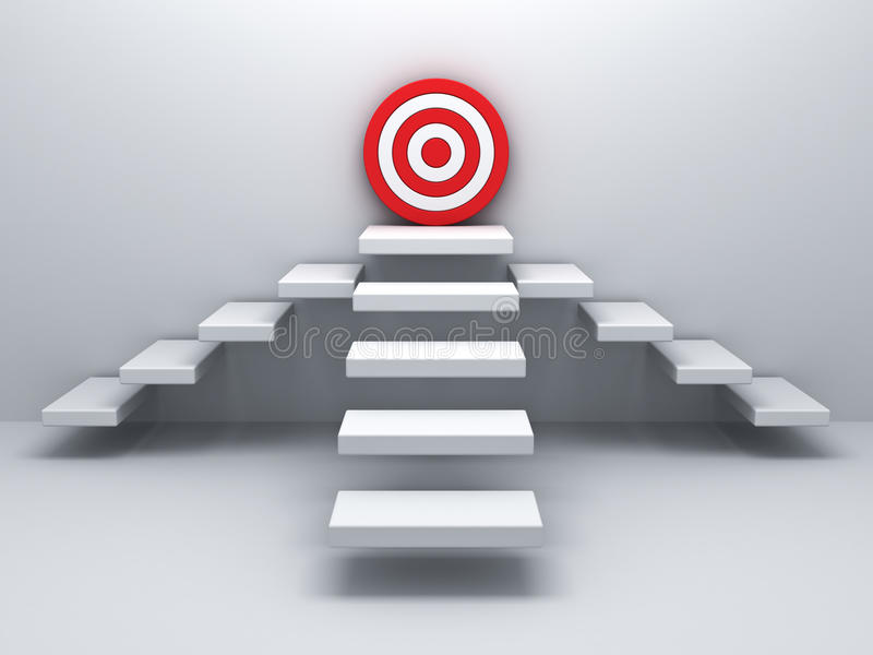 Steps up to goal target business concept over white wall. Background stock illustration