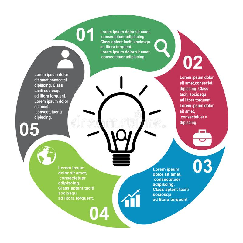 5 steps vector element in five colors with labels, infographic diagram. Business concept of 5 steps or options with bulb stock illustration