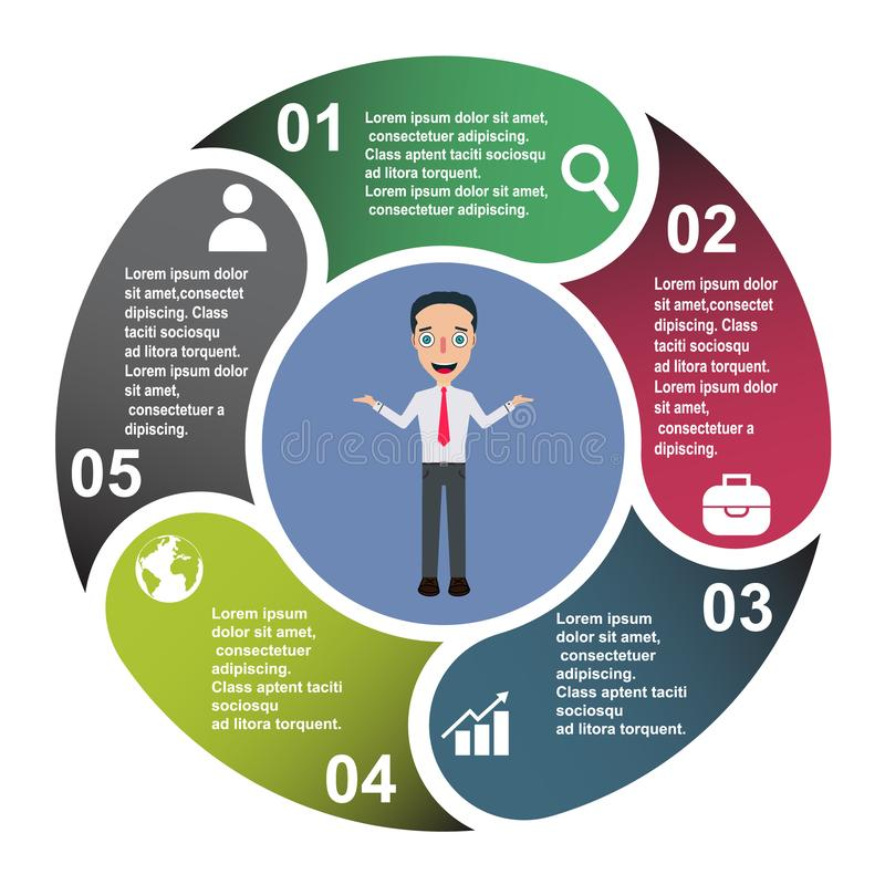 5 steps vector element in five colors with labels, infographic diagram. Business concept of 5 steps or options with businessman.  royalty free illustration