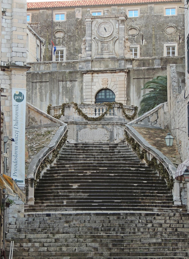 Steps. View of large stone staircase leading up to Jesuit Church Dubrovnik royalty free stock photography