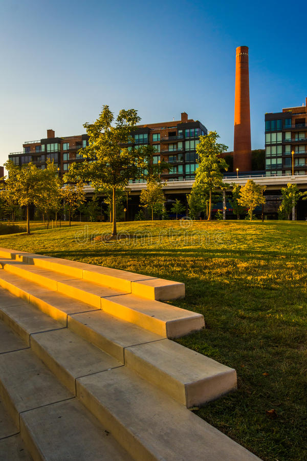 Steps and view of the smokestack in Georgetown, Washington, DC. royalty free stock image