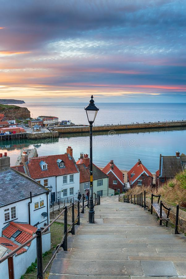 The 199 Steps at Whitby in Yorkshire stock image