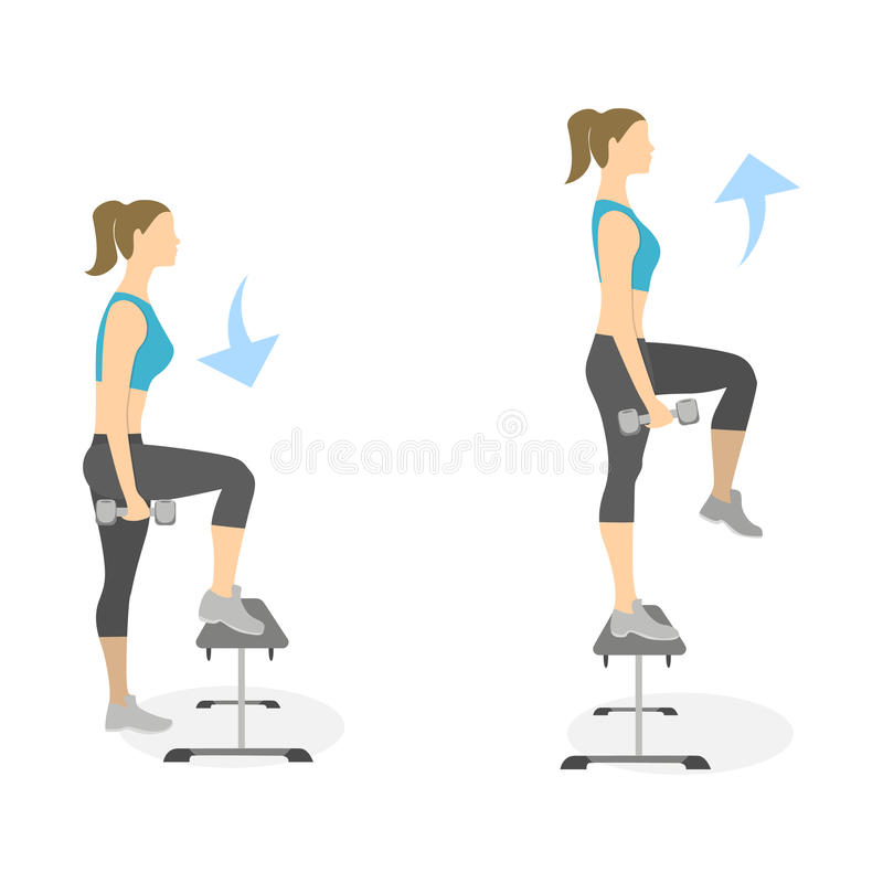 Stepup exercise for legs stock vector illustration of for Exercice cuisse interieur