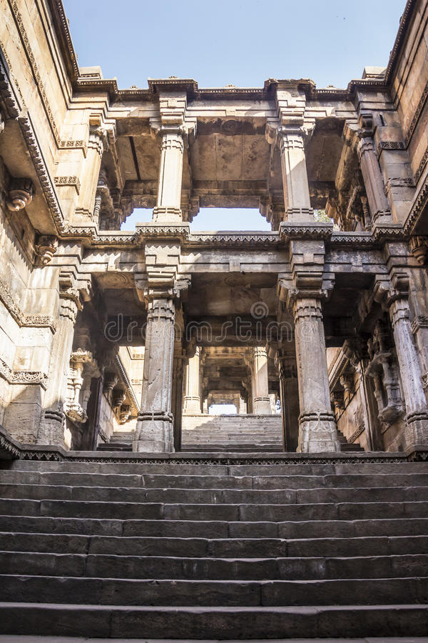 Stepwell, Ahmedabad. A stepwell. a well with stairs going down to the water, at Ahmedabad, Gujarat, India royalty free stock image