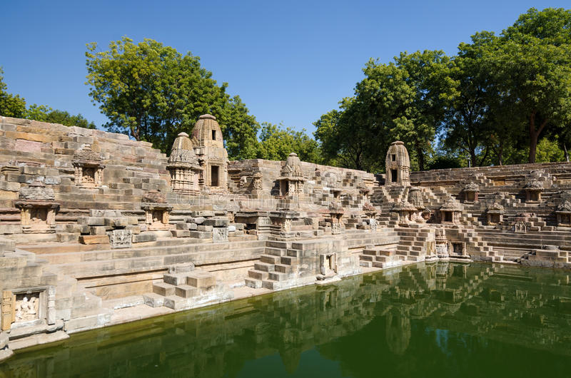 Stepwell at Sun Temple Modhera in Ahmedabad. Gujarat, India royalty free stock image