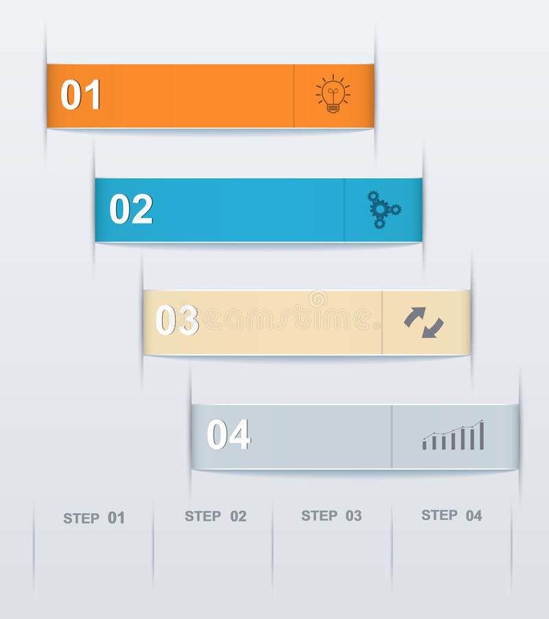 Stepwise numeric template infographic. Modern design of infographics, presentations, reports, web design elements stock illustration
