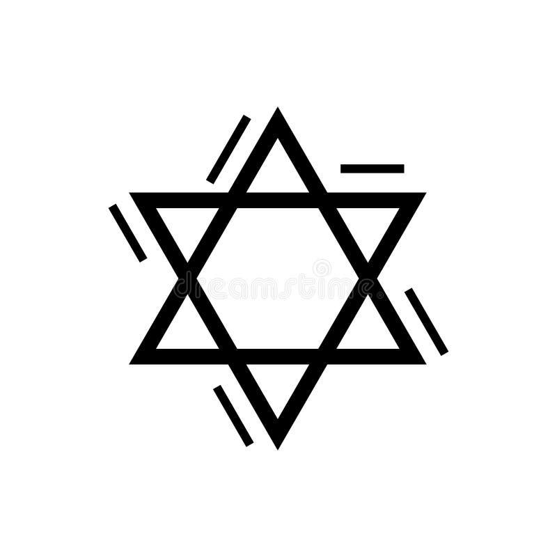 Ster David ` s - Joods pictogram, vectorillustratie, zwart teken op geïsoleerde achtergrond stock illustratie