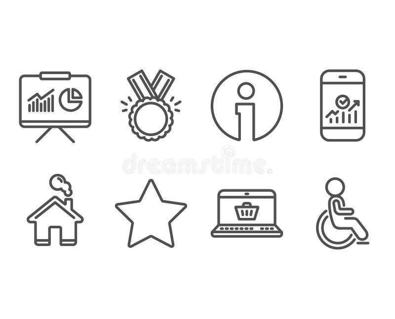 Ster, Eer en Smartphone-statistiekenpictogrammen Presentatie, online het winkelen en Gehandicapte tekens stock illustratie