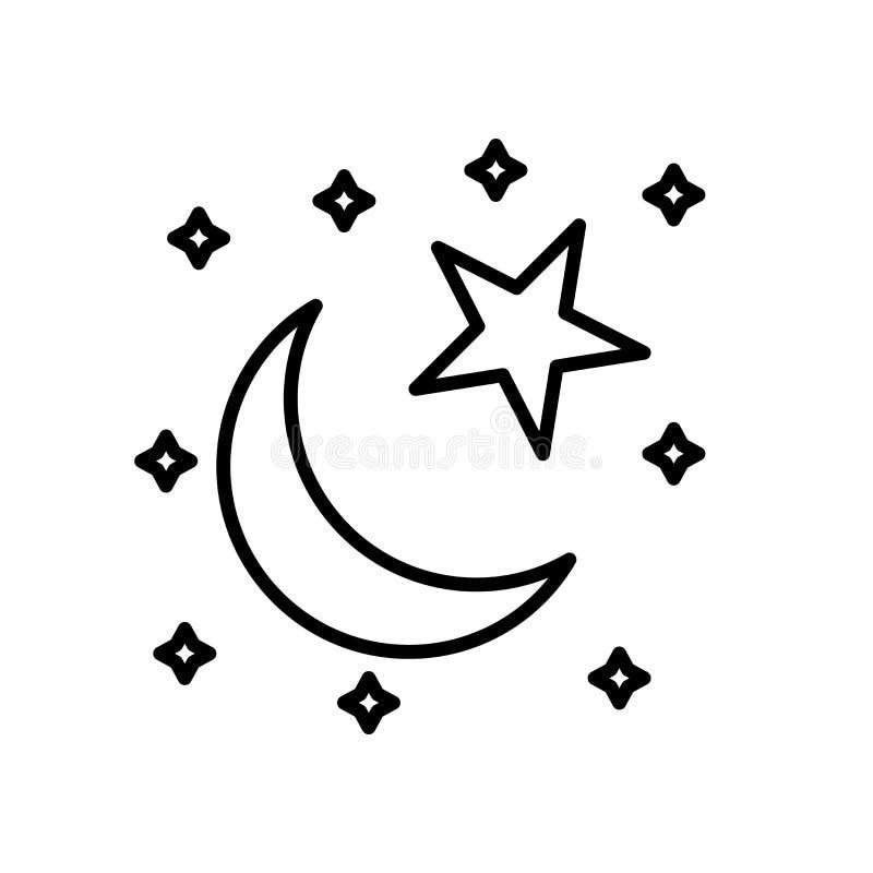 Ster en Crescent Moon-pictogramvector op witte achtergrond binnen wordt geïsoleerd, Ster en Crescent Moon-teken, de dunne element stock illustratie