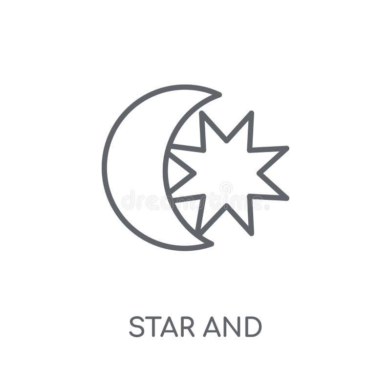 Ster en het lineaire pictogram van Crescent Moon Moderne overzichtsster en Cres stock illustratie