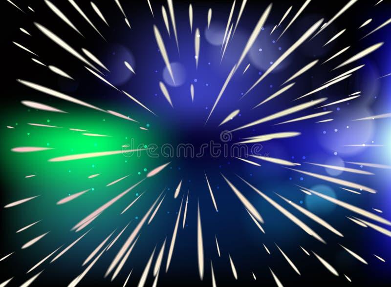 Ster Het vliegen door de sterren bij de snelheid van licht royalty-vrije illustratie
