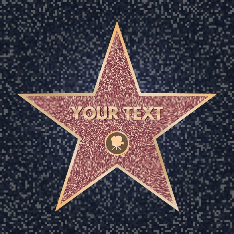 Ster hollywood Heldere vectorster op beroemdheidsboulevard De Gang van Hollywood van Bekendheid Schitter ster met camera op dark royalty-vrije illustratie