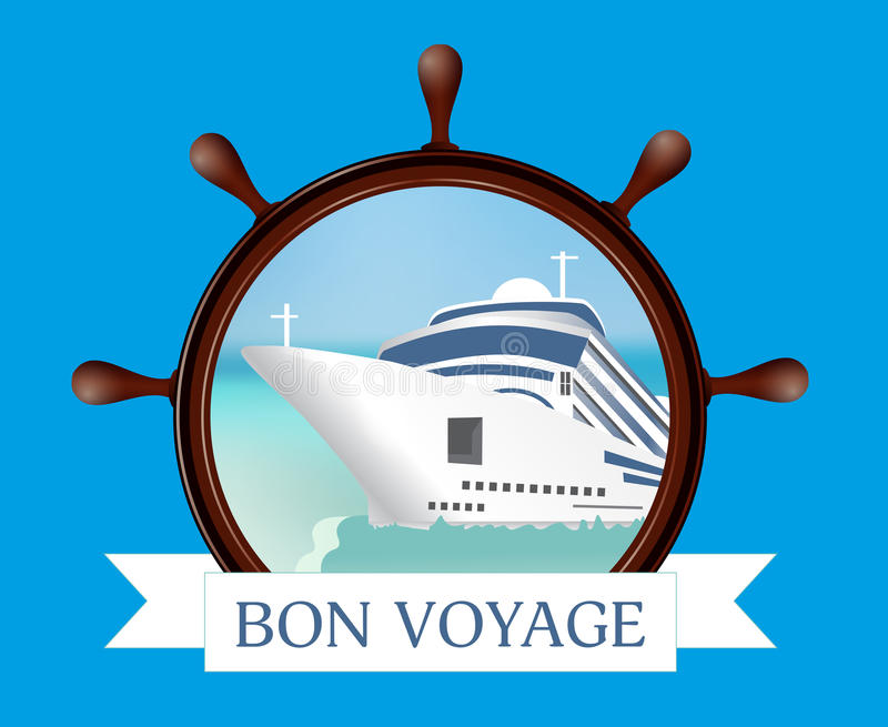 Ster i porthole z statkiem, faborek na błękitnym tle Co ilustracji