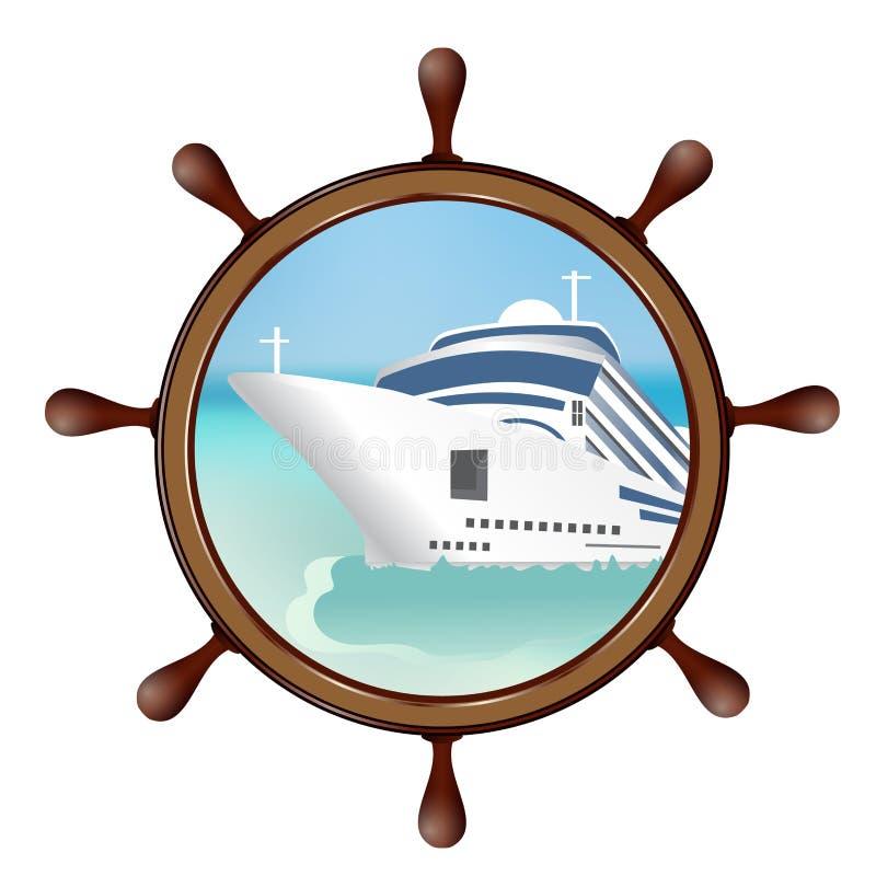 Ster i porthole z statkiem Pojęcie reklamuje denną podróż royalty ilustracja