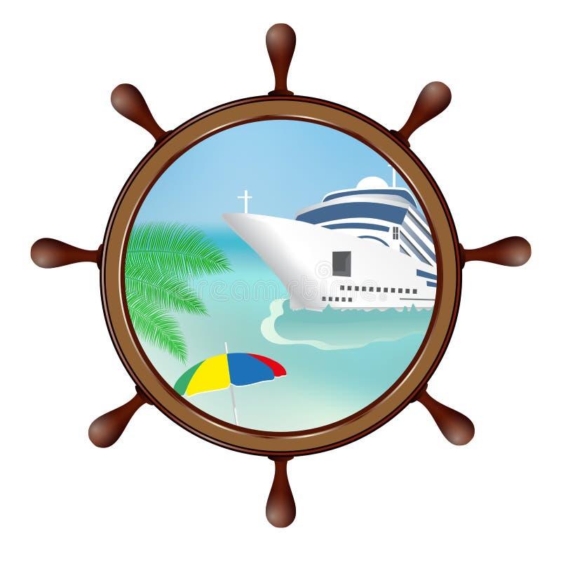 Ster i porthole z wyspą i statkiem Pojęcie reklama ilustracji