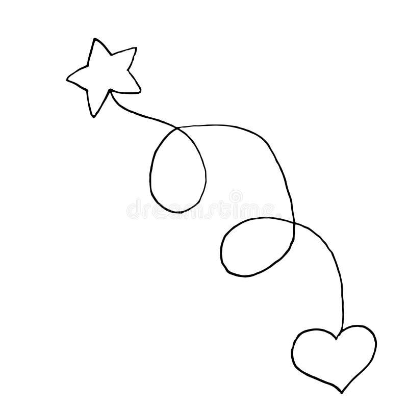 Ster met hart De schets van de handtekening Zwart overzicht op witte achtergrond Vector illustratie stock illustratie
