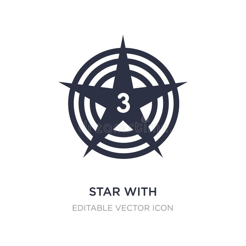 ster met nummer drie pictogram op witte achtergrond Eenvoudige elementenillustratie van Vormenconcept vector illustratie
