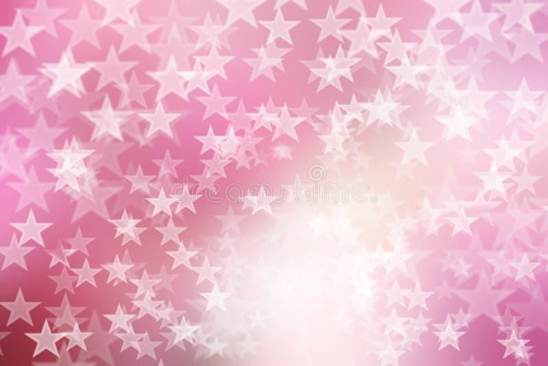 Ster op roze en witte, abstracte bokehachtergrond royalty-vrije stock foto's