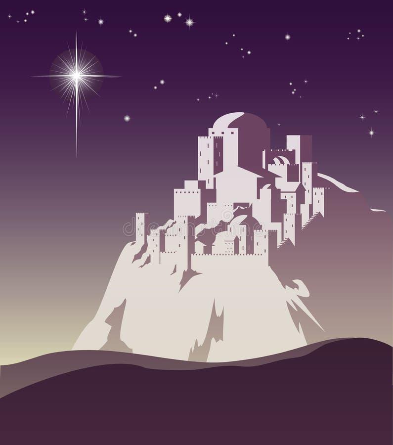 Ster over Bethlehem stock illustratie