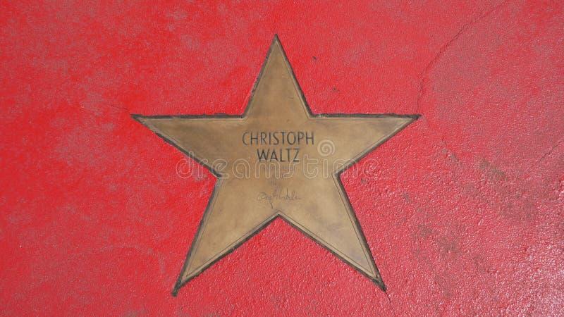Ster van de Sterren van Christoph Waltz At Boulevard der, Gang van Bekendheid in Berlijn stock afbeeldingen