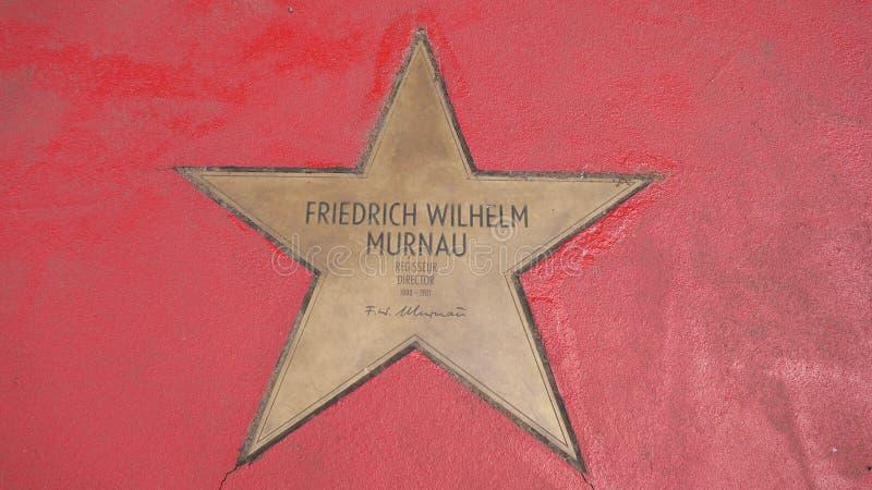 Ster van de Sterren van Friedrich Wilhelm Murnau At Boulevard der, Gang van Bekendheid in Berlijn stock afbeelding