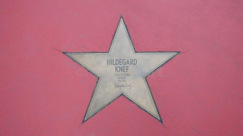 Ster van de Sterren van Hildegard Knef At Boulevard der, Gang van Bekendheid in Berlijn stock afbeeldingen