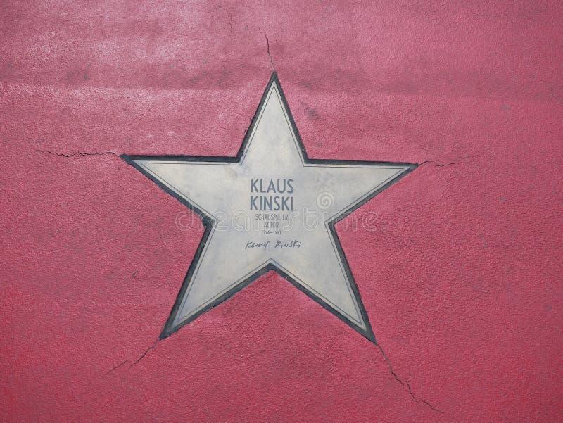 Ster van de Sterren van Klaus Kinski At Boulevard der, Gang van Bekendheid in Berlijn royalty-vrije stock foto's