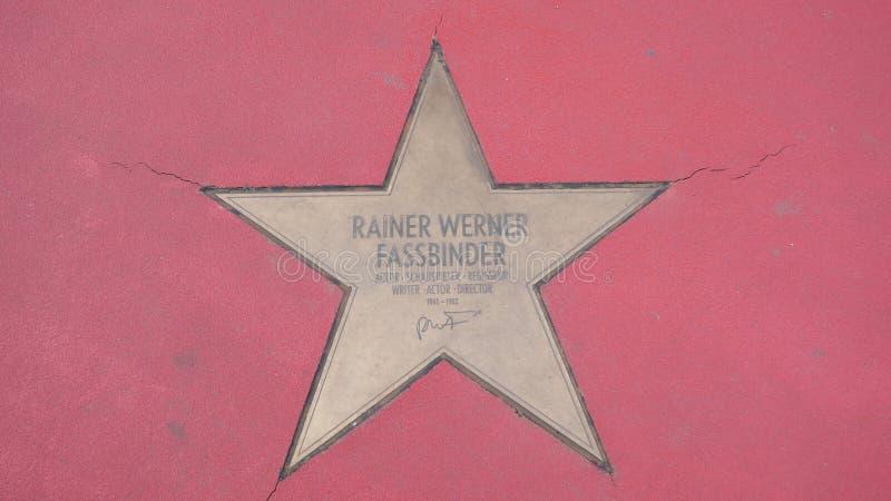 Ster van de Sterren van Rainer Werner Fassbinder At Boulevard der, Gang van Bekendheid in Berlijn stock afbeelding