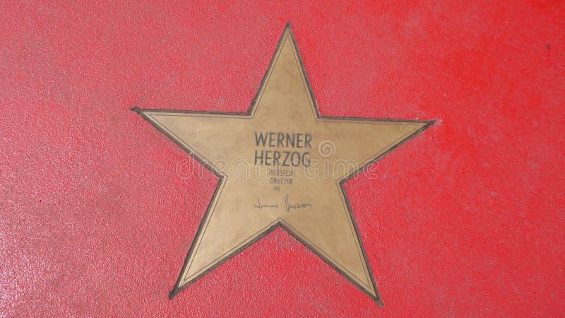 Ster van de Sterren van Werner Herzog At Boulevard der, Gang van Bekendheid in Berlijn royalty-vrije stock fotografie