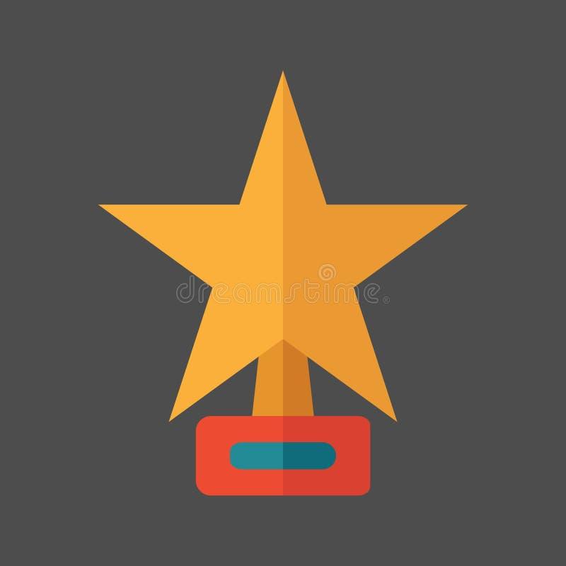 Ster vectorpictogram, vlak weelderig, geel Websymbool op een grijze achtergrond Vector illustratie royalty-vrije illustratie
