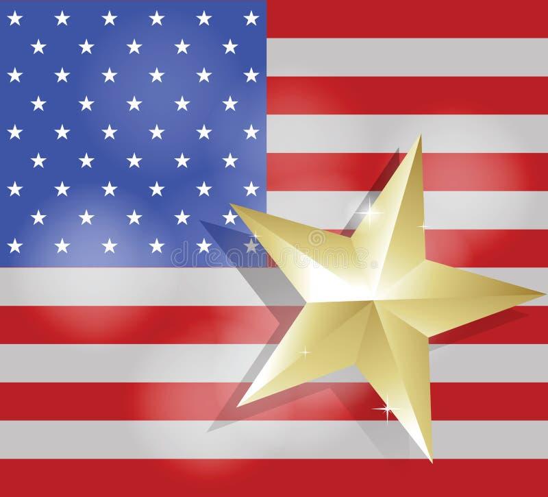 Ster voor succes op de vlag van de Verenigde Staten van Amerika royalty-vrije illustratie