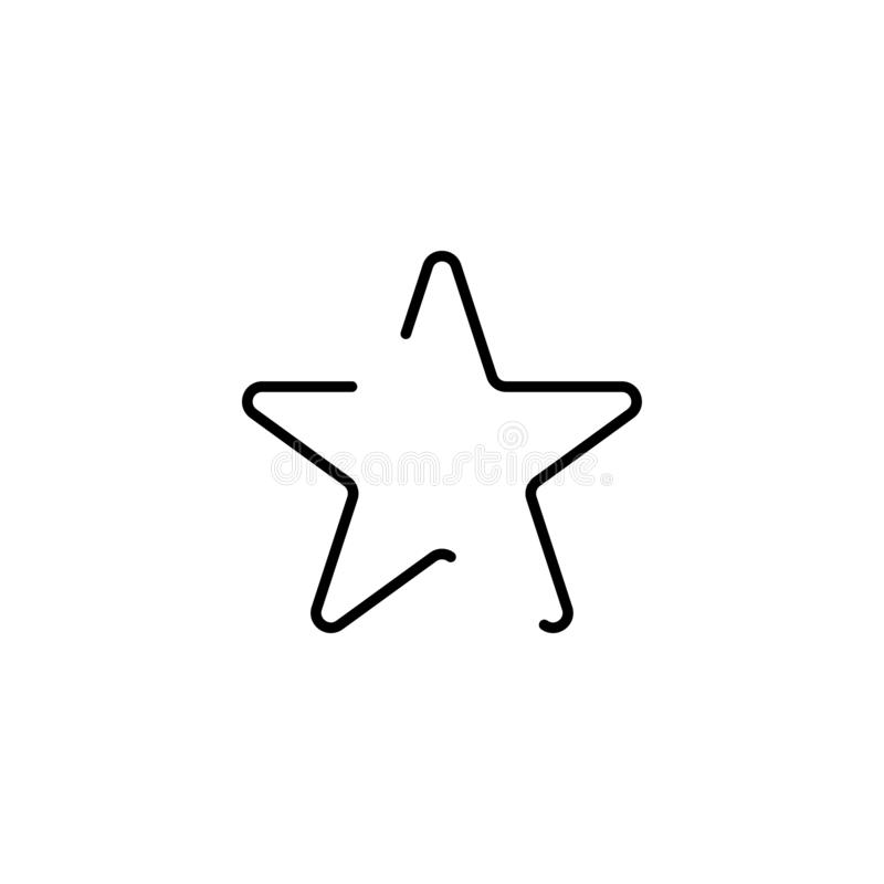 Ster zwarte ster in in lineaire stijl Ster op witte achtergrond wordt ge?soleerd die royalty-vrije illustratie