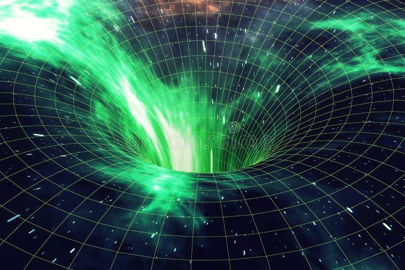 Sterafwijking of Hyperspace, de abstracte afwijking van de snelheidstunnel in ruimte Over het heelal, het 3d teruggeven vector illustratie
