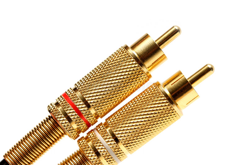 Stereo audio jacks gold plated stock photography